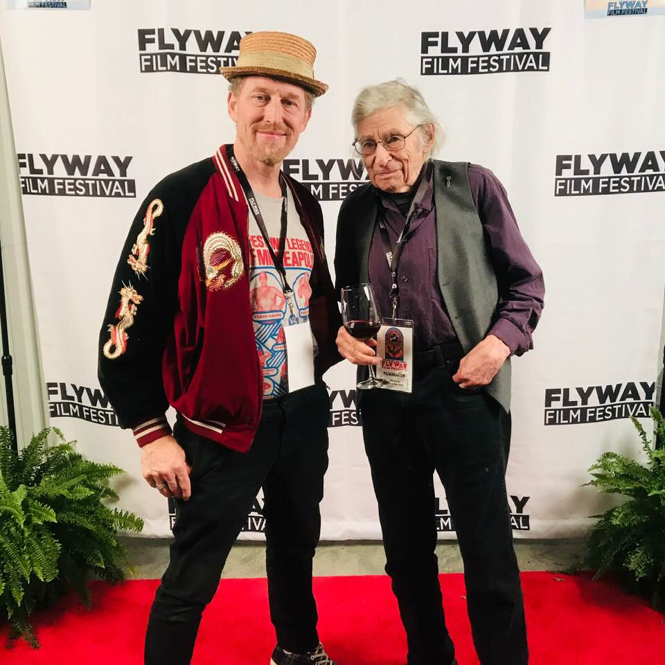 Director Phil Harder with Al Milgrom who turns 97 soon. Al is making three features at the same time. We are proud to have Al in attendance as we screen our film at the Flyway Film Festival.